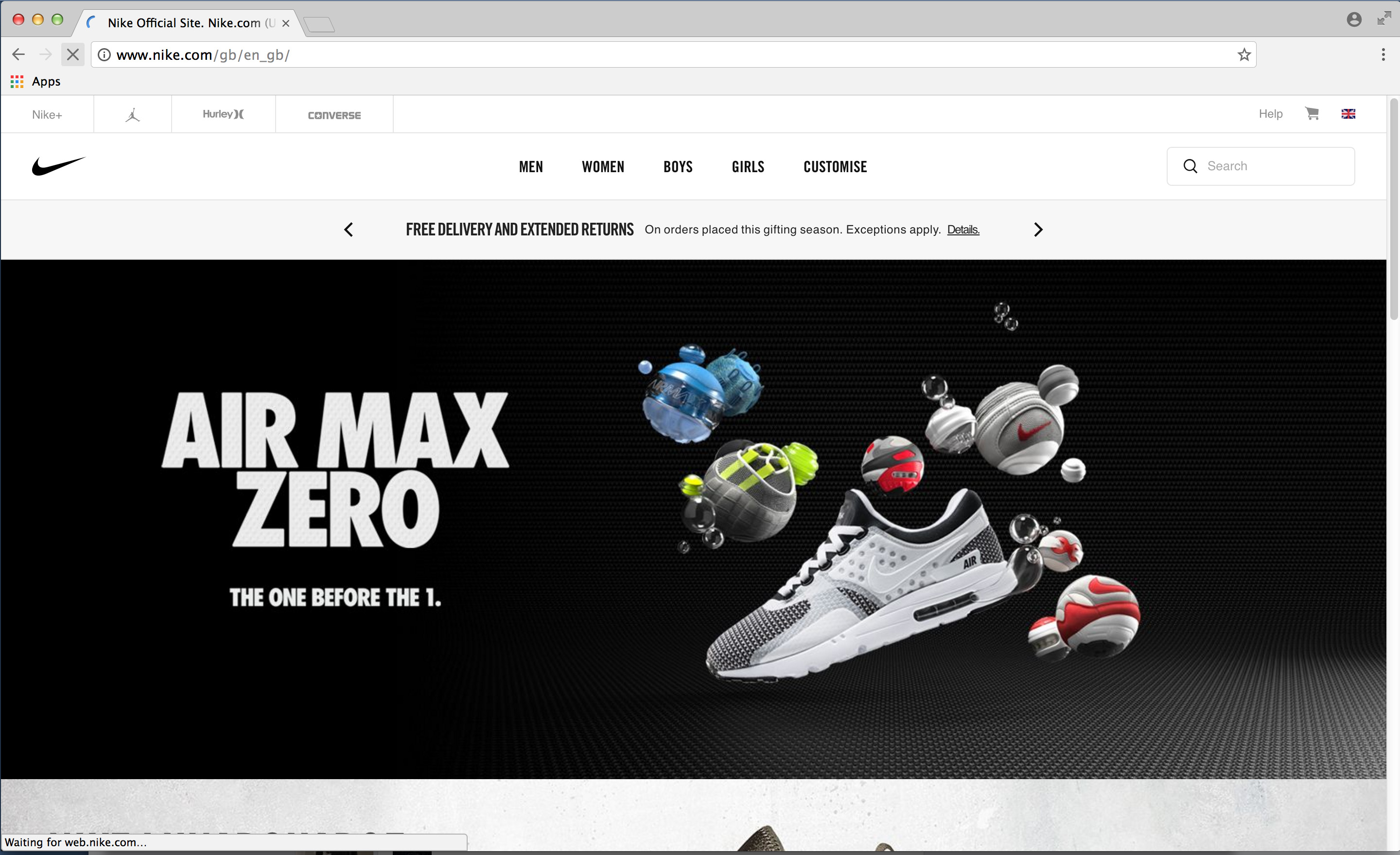 nike.com frontpage feature